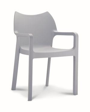 Kantinestoel / terrasstoel Diva met armleuningen lichtgrijs