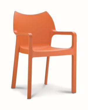 Kantinestoel / terrasstoel Diva met armleuningen oranje