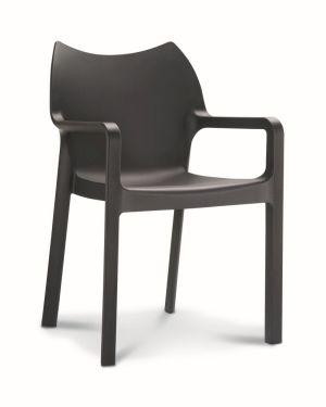 Kantinestoel / terrasstoel Diva met armleuningen zwart