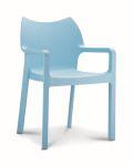 Kantinestoel / terrasstoel Diva met armleuningen lichtblauw