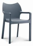 Kantinestoel / terrasstoel Diva met armleuningen donkergrijs
