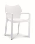 Kantinestoel / terrasstoel Diva met armleuningen wit